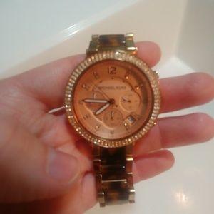 Michal Kors Rose Gold Tortoise Shell Watch